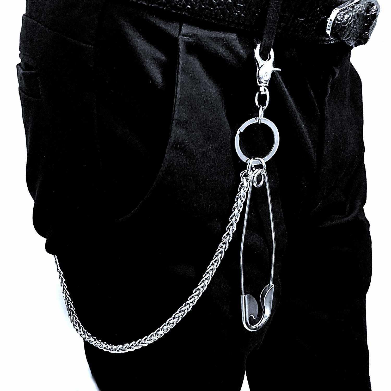 Los hombres pesado bronce cintura motociclista cráneo cartera clave cadena Punk Rock pantalones motocicleta HipHop pantalón de cuero Jean cadena DR224