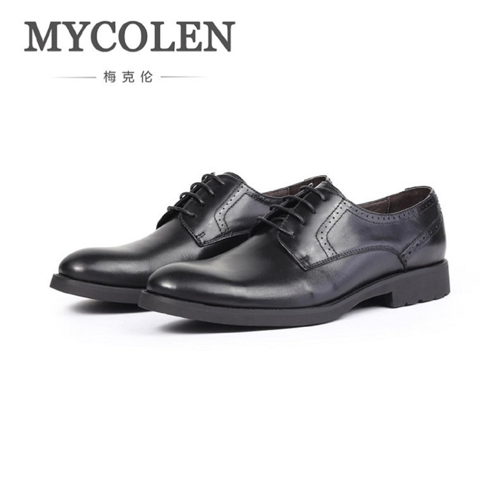 MYCOLEN New Genuine Leather Derby Shoes Comfortable Men Shoes Black Office Party Formal Dress Shoes Sapato Masculino declare крем люкс против морщин вокруг глаз 15 мл