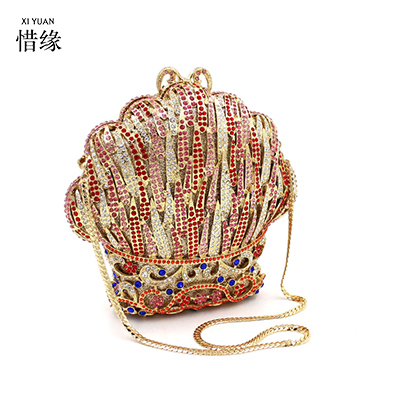 XIYUAN BRAND new luxury full diamond color ice cream evening dinner hand bag High-grade crystal shoulder bag ladies wallets