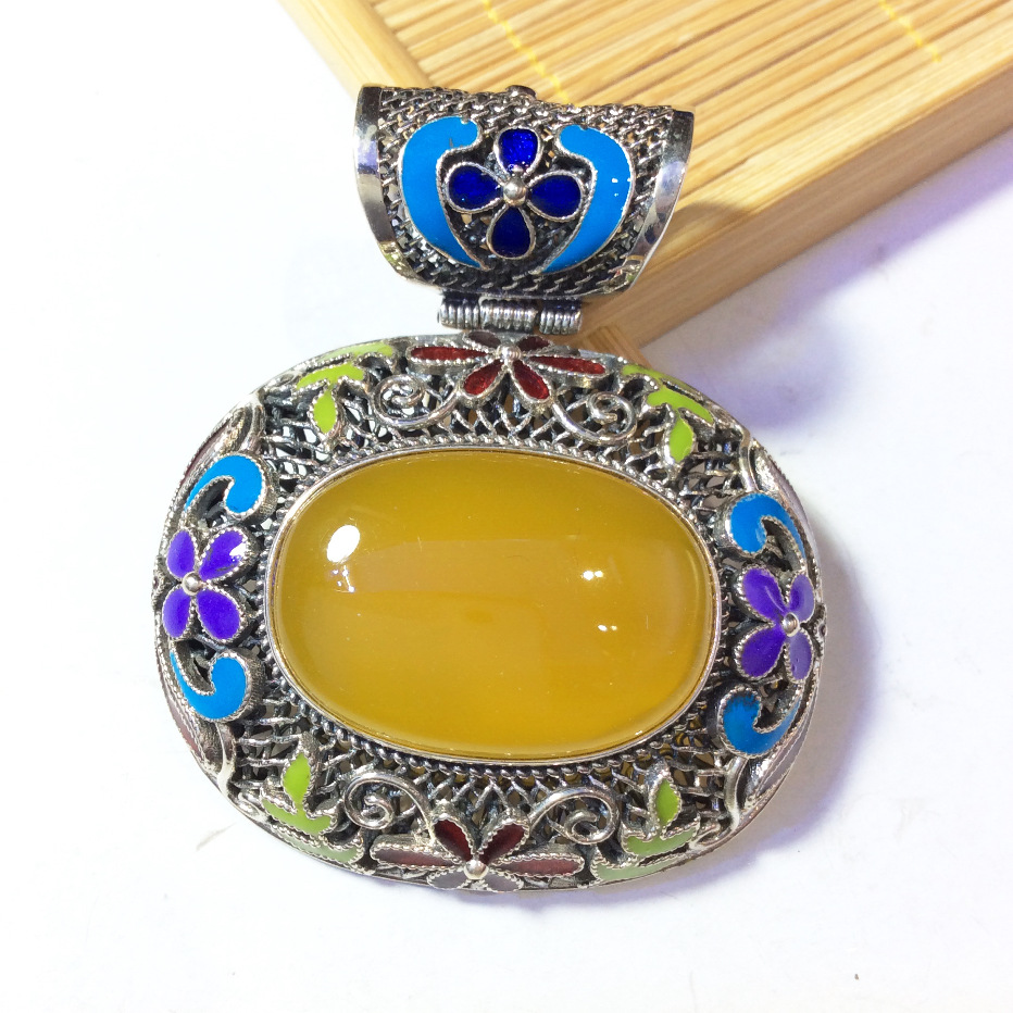 s925 pure silver inlaid natural pulp cloisonne retro fashion pendant furnishing articles silver s925 pure silver natural pearl retro personality