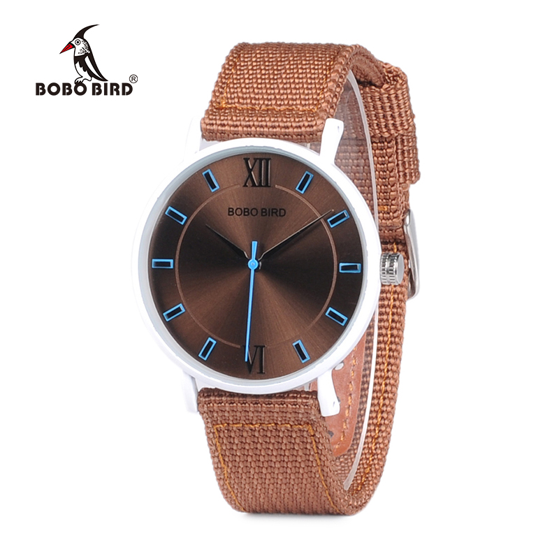 BOBO BIRD Stainless Steel Watches For Womens Silicone Nylon Band Ladies Wrist Watch Quartz In Gift Box