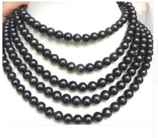 Femmes cadeau eau douce long 7-8 MM noir collier de perles de culture AKOYA 80