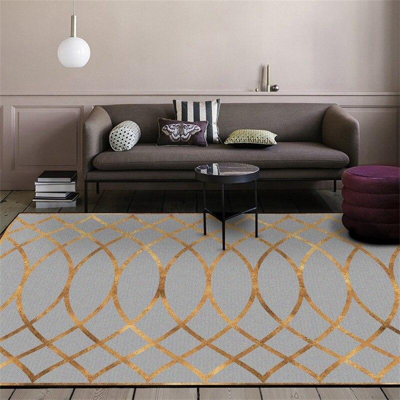 Alfombra y alfombra geométrica moderna para sala de estar dormitorio alfombras de salón de Metal dorado a rayas sofá de hogar Decoración de suelo Tapete