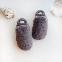 Schöne Faux Kaninchen Pelz Winter Frauen Hause Hausschuhe Für Innen Schlafzimmer Haus Weichen Boden Baumwolle Warme Schuhe Erwachsene Gäste Wohnungen