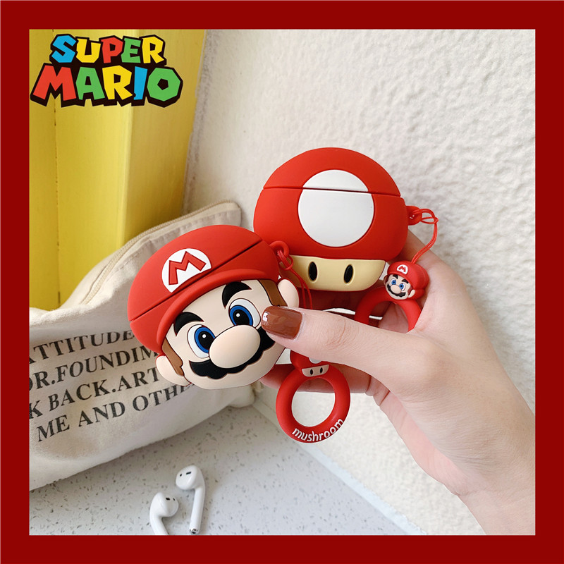 3D Cute Mario Bros Toad Mushroom Headphone Cases For Apple Airpods 1 2 Cartoon Silicone Earphone Cover With Anti-lost Ring Rope