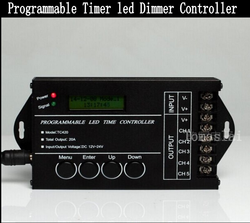 ФОТО Programmable RGBW RGB CW/WW led time controller by PC , Timer LED controller dimmer 5 CH *4A  20A DC12-24V free shipping