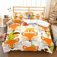 Cartoon Fox 2/3PCS Children's Bedding Set Plants Print Bedding Sets Animals Bed Linen Set Duvet Cover Set Pillowcase Bedclothes 1 5m 3pcs floral print bedding set