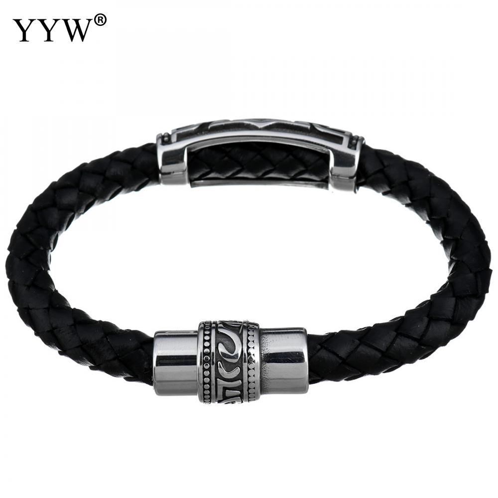 Fashion Wristband black Punk cowhide cord braided bracelet Stainless Steel Men Bracelets Bangles pulseras hombre caucho