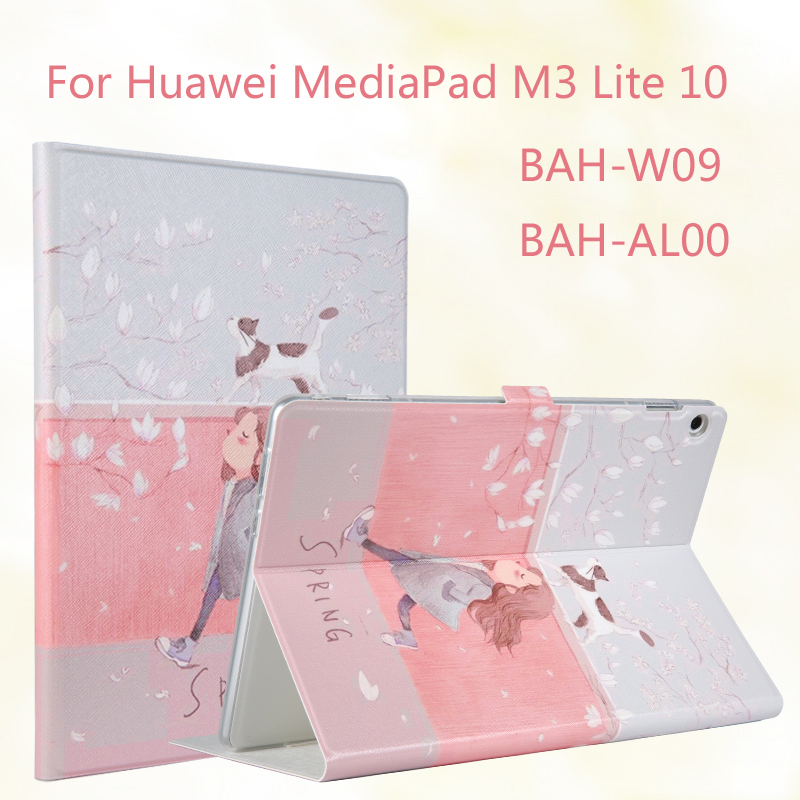 Fashion Painted Flip PU Leather For Huawei MediaPad M3 Lite 10 BAH-W09 BAH-AL00 10.1 inch Tablet Case Cover + Stylus + Film 9h tempered glass screen protector for huawei mediapad m3 lite 10 bah w09 al00 10 1 inch tablet protective toughened glass film