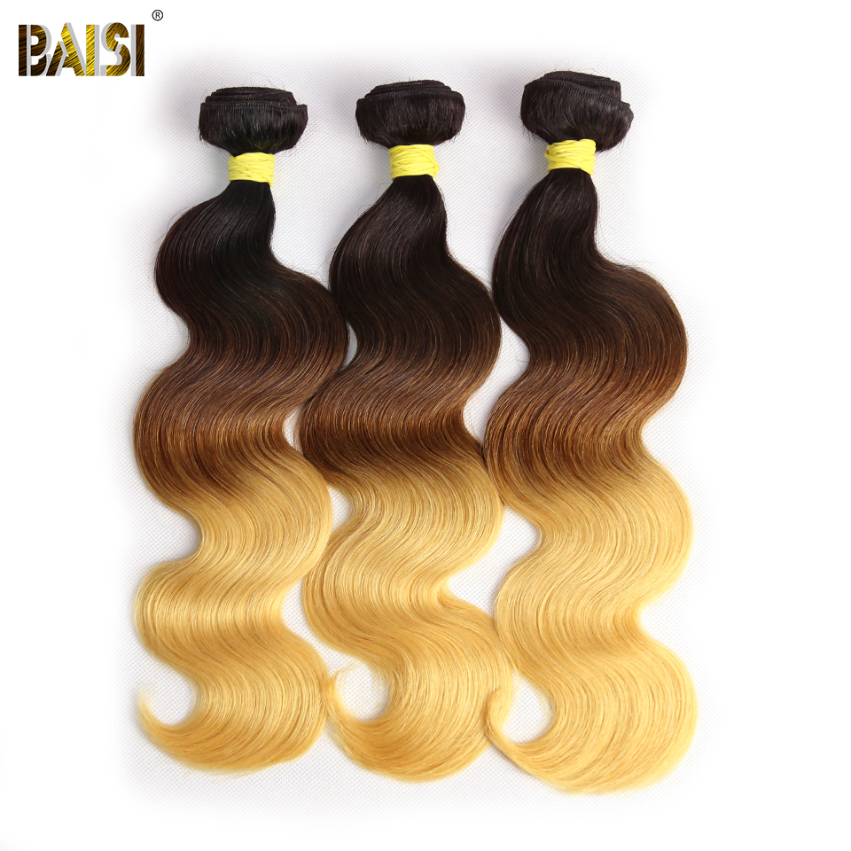 BAISI Hair Brazilian Virgin Hair Body Wave 3 Bundles Ombre Human Hair Remy Extensions