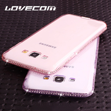 LOVECOM For Samsung Galaxy J3 J5 J7 2015 2016 2017 EU Version S8 Plus S5 S6 S7 Back Cover CZ Crystal Soft TPU Frame Phone Case(China)