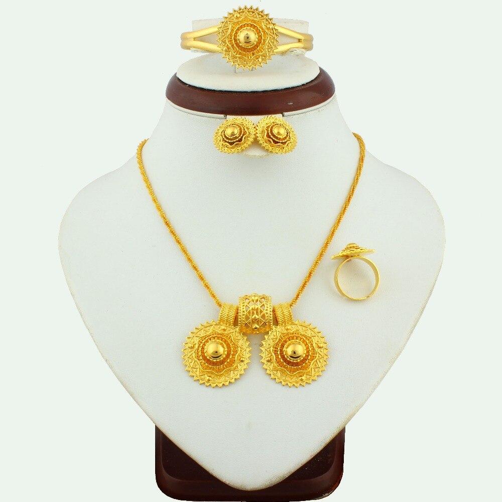 Conjuntos de Jóias Acessórios do Casamento para Presentes Novo Africano Etíope Charme Nupcial Grande Dubai Ouro Colar Marca Luxo Femininos jh 2020