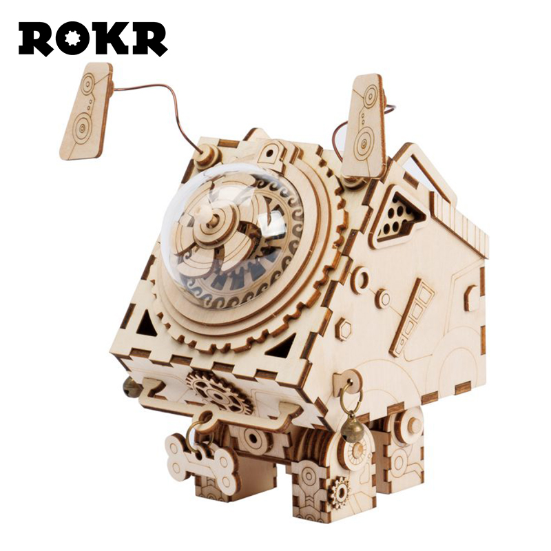 ROKR DIY Steam Punk Music Box 3D Wooden Puzzle Assembly Model Building Kit Musical Toys For Drop Shipping Birthday Gift AM480