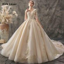 Vestido De Noiva Princesa 2020 Custom Made V hals Lace Up Kralen Pailletten Gold Applicaties Baljurk Trouwjurk Bruidsjurk