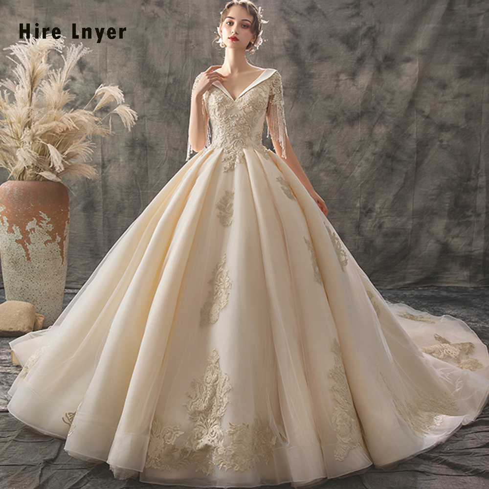 Vestido De Noiva Princesa 2020 Custom Made V-neck Lace Up Beading Sequins Gold Appliques Ball Gown Wedding Dress Bruidsjurk