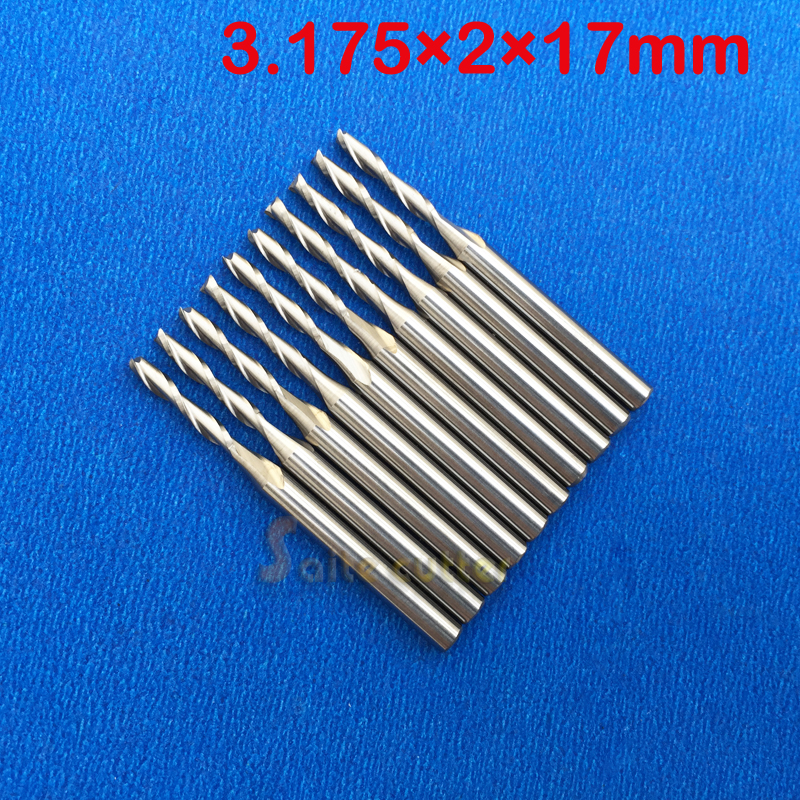10pcsx1/8 2mm Carbide CNC Double/Two Flute Spiral Bits CEL 17mm end mill engraving cutter free shipping 10pcs 6x25mm one flute spiral cutter cnc router bits engraving tool bits cutting tools wood router bits