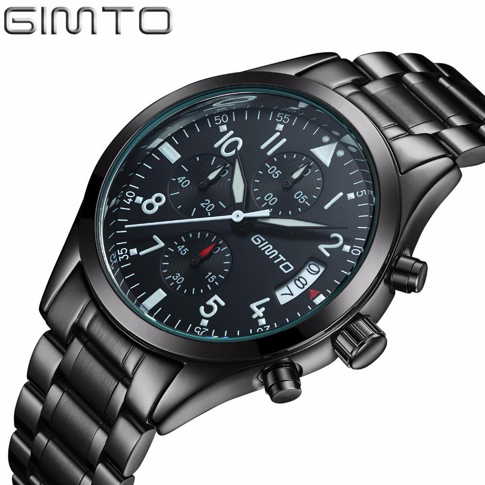 Prix pour GIMTO Sport Hommes Montres Top Marque De Luxe Bracelet En Acier Étanche Militaire Quartz Hommes Montre-Bracelet Homme Horloge horloges mannen saat