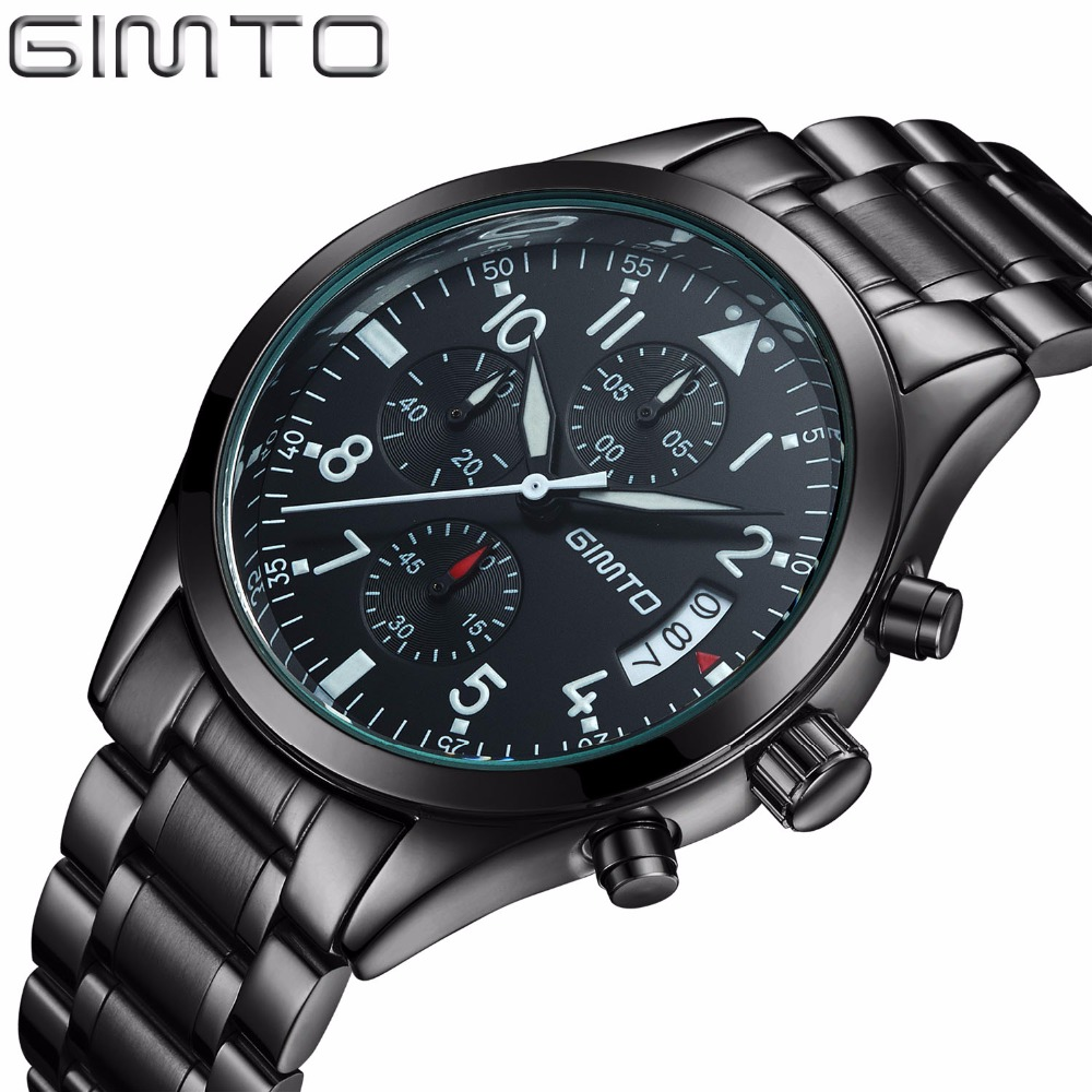 GIMTO Sport Men Watches Top Brand Luxury Steel Strap Waterproof Military Quartz Men Wrist Watch Male Clock horloges mannen saat megir sport mens watches top brand luxury male leather waterproof chronograph quartz military wrist watch men clock saat 2017