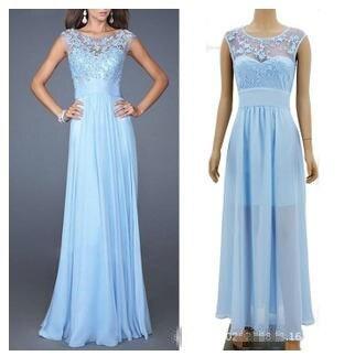 2015 Elegant Light Blue Women Long Party Dress Backless Sexy
