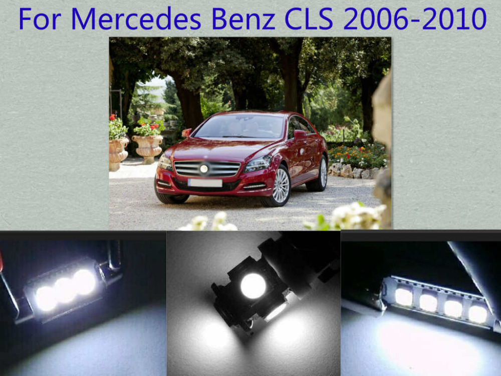 Error Free Canbus 14PCS White LED Interior Package kit For CLS 2006-2010 Map Dome Trunk Courtesy Tag Lights