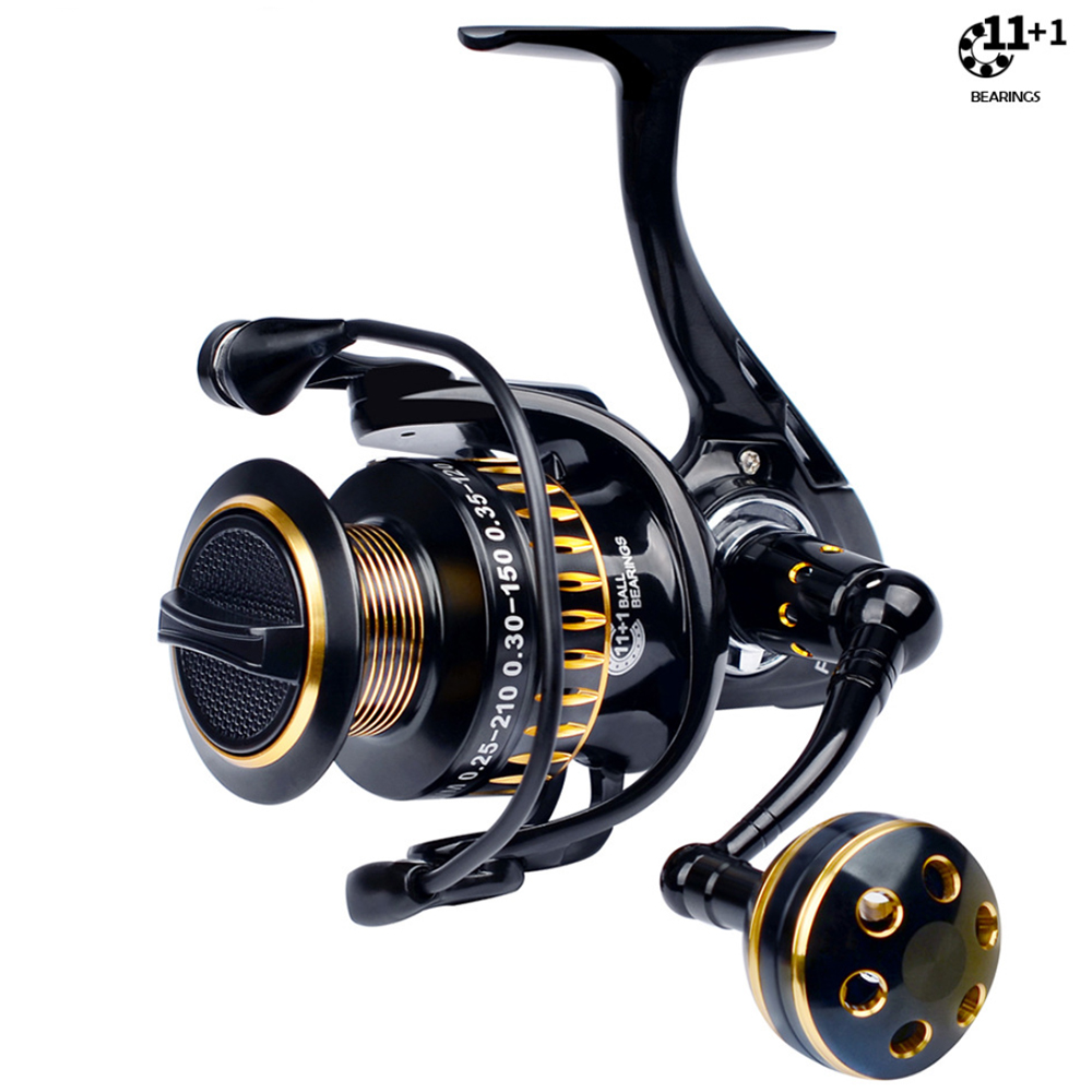 Gear Ratio 5.0:1 Spinning Fishing Reel with Exchangeable Handle Automatic Folding for Casting Durable  Left/right hand swap