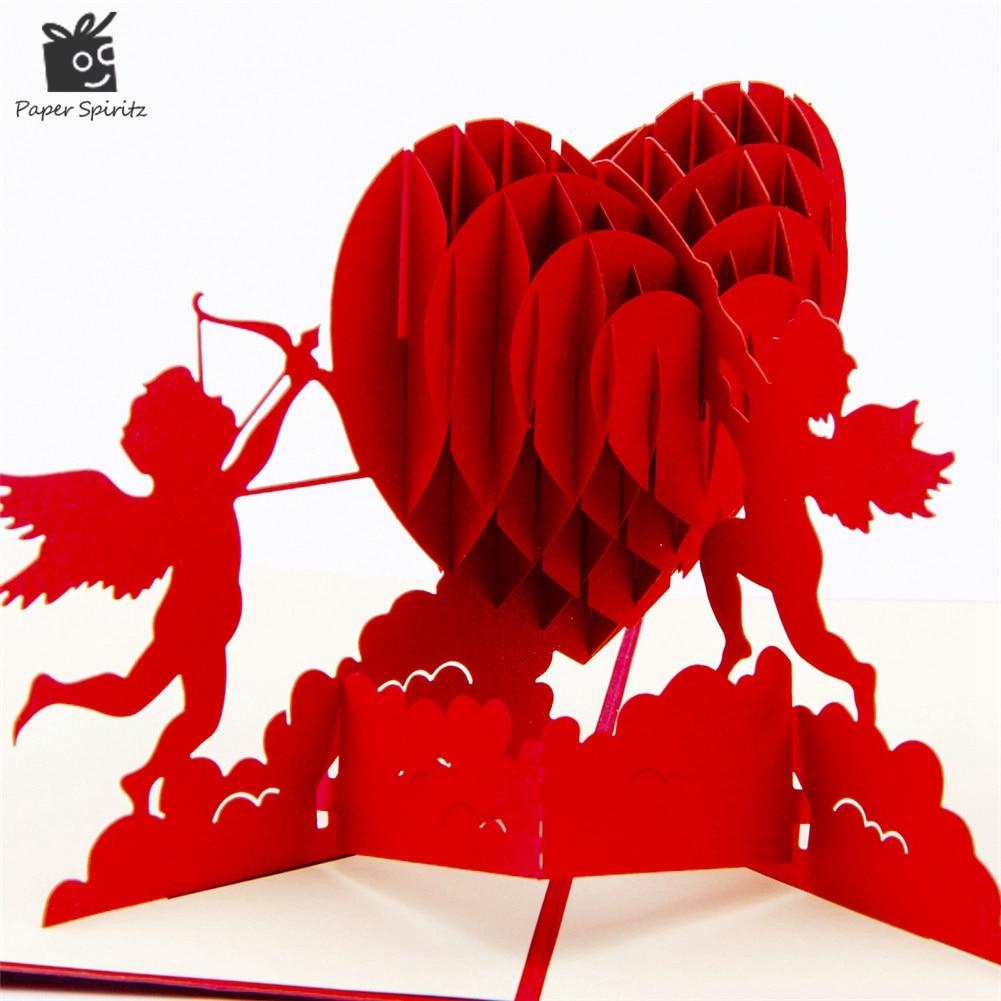 3D Pop Up Birthday Greeting Postcards Gift Cards Custom Laser Cut Heart Blank Vintage Invitation Mariage