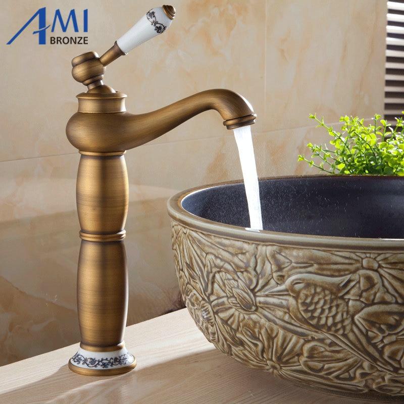 "13/"" Antique Brass /& Porcelain Kitchen Sink Swivel Bathroom Basin Brass Faucet"