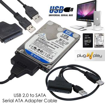External Hard Drive Converter USB 2.0 To 22 Pin SATA Adapter Cable With Extra USB Power Cable For 2.5 Inch SATA Laptop HDD SSD