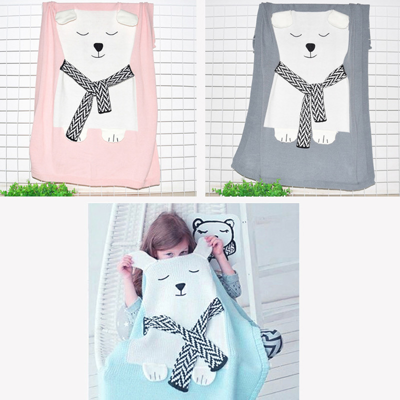 Baby Blanket Cute stereo ear White Bear Bed Sofa Wool Blanket , knitted Blanket Children Beach Mat Baby comfortable knitted square plaid floral hollowed sofa blanket