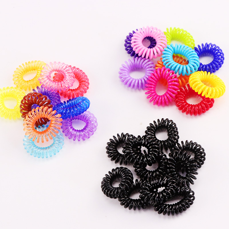 10PCS New Small Telephone Line Hair Ropes Girls Colorful Elastic Hair Bands Kid Ponytail Holder Tie Gum Hair Accessories A040-6
