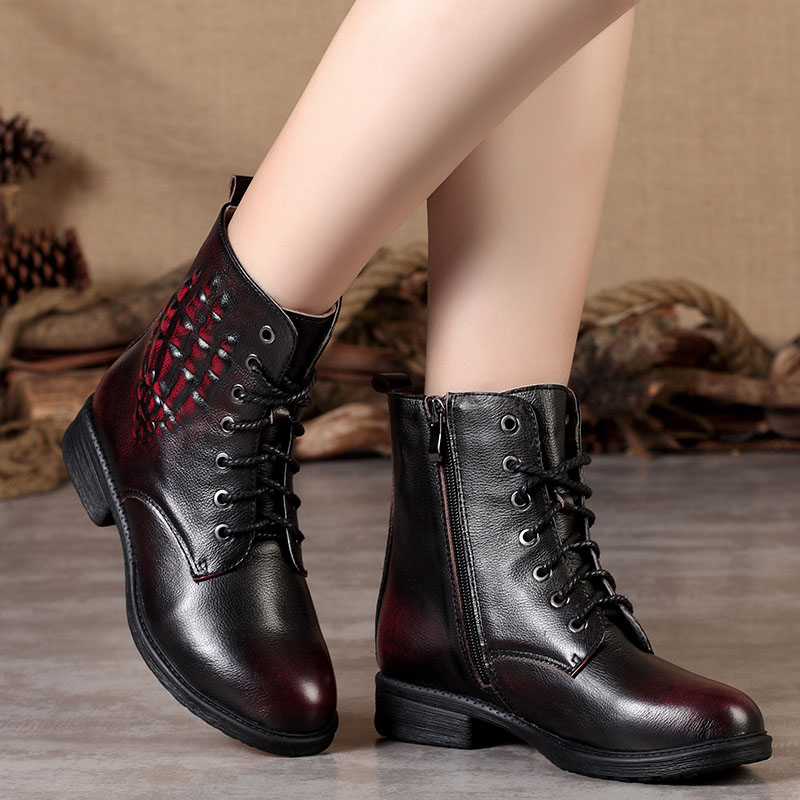 New women Genuine Leather Boots Vintage Style Flat Booties Soft Cowhide Women's Shoes side Zip Ankle Boots Female Winter