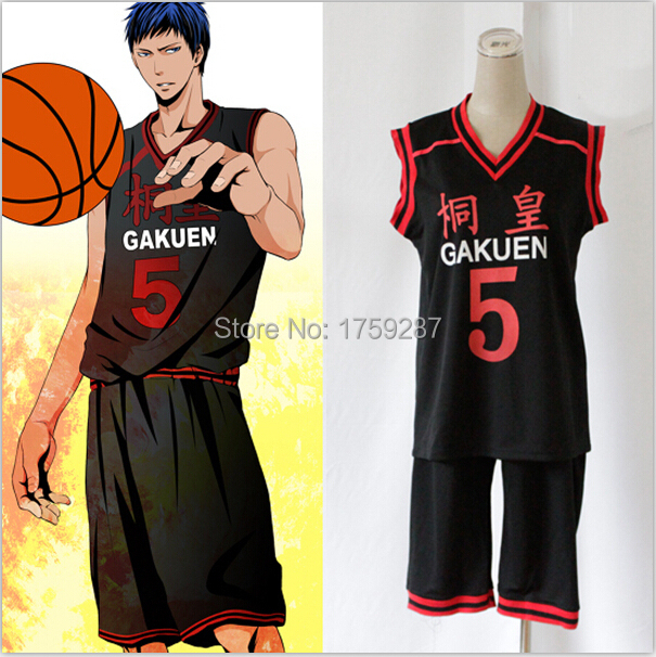 Anime Kuroko no Basuke GAKUEN n° 5 Aomine Daiki cesta bola Jersey Cosplay  disfraz unisex cd5c21bfa32dc