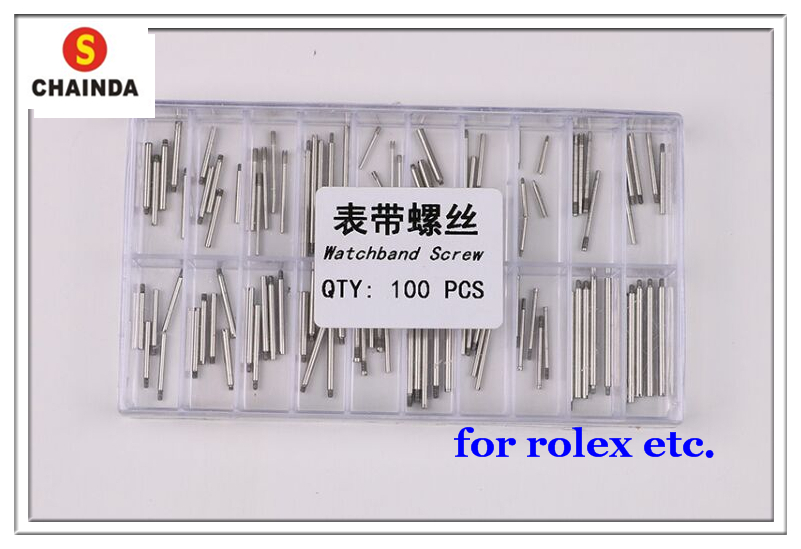 Free Shipping 100 PCs Stainless Steel Watch Band Screw Mixed Sizes for Watch Repair free shipping 1pc stainless steel chainda 30209 screw extractor for watch repair
