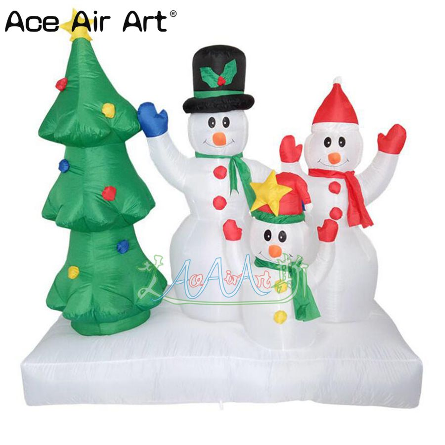 Hot selling Christmas tree snowman family inflatable air mold ...