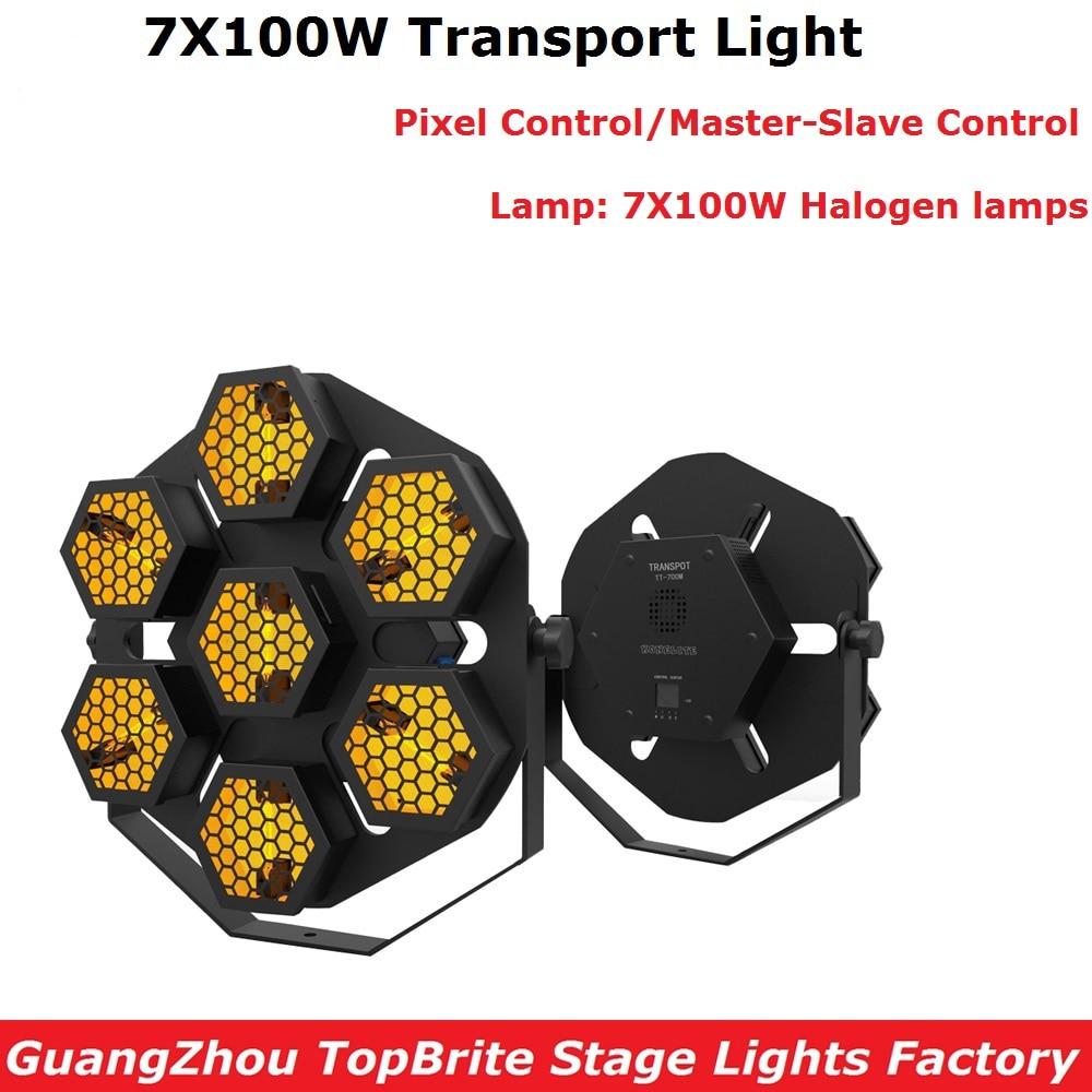 100% New Transport Light High Quality 7X100W Halogen Lamp Stage Retro Flash Lights Pixel Control Professional Dj Party