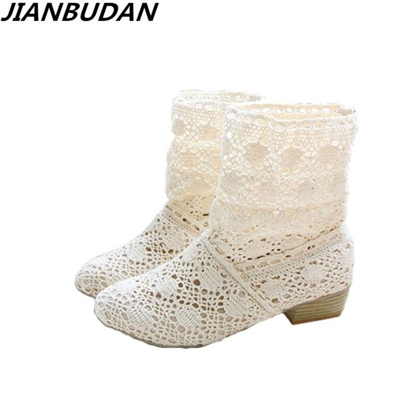 Crochet d'été bottes bootie 2018 avec les nouvelles chaussures dentelle ajouré crochet bottes Plus La taille creux de mode femmes bottes