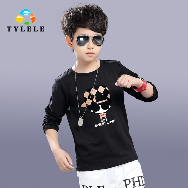 5 6 7 8 9 10 11 12 13 14 Years 2017 T-Shirts For Boys Spring Teenage Boy Tops Long Sleeve T-Shirts Kids White Black Kids Clothes