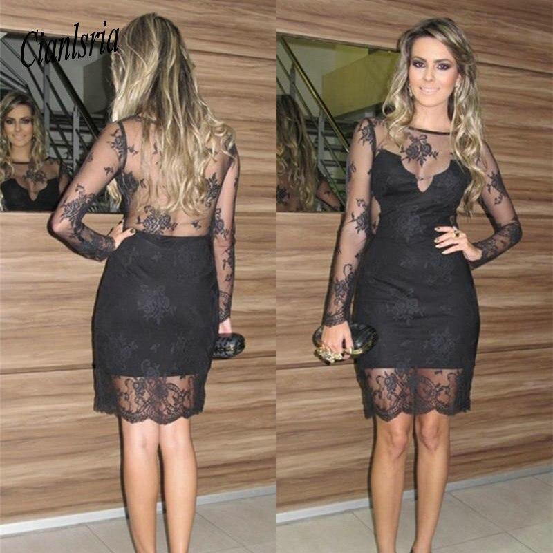 Black Sexy Sheath Homecoming   Dress   Illusion Long Sleeves Vestido De Festa   Dresses   Knee Length   Cocktail     Dresses