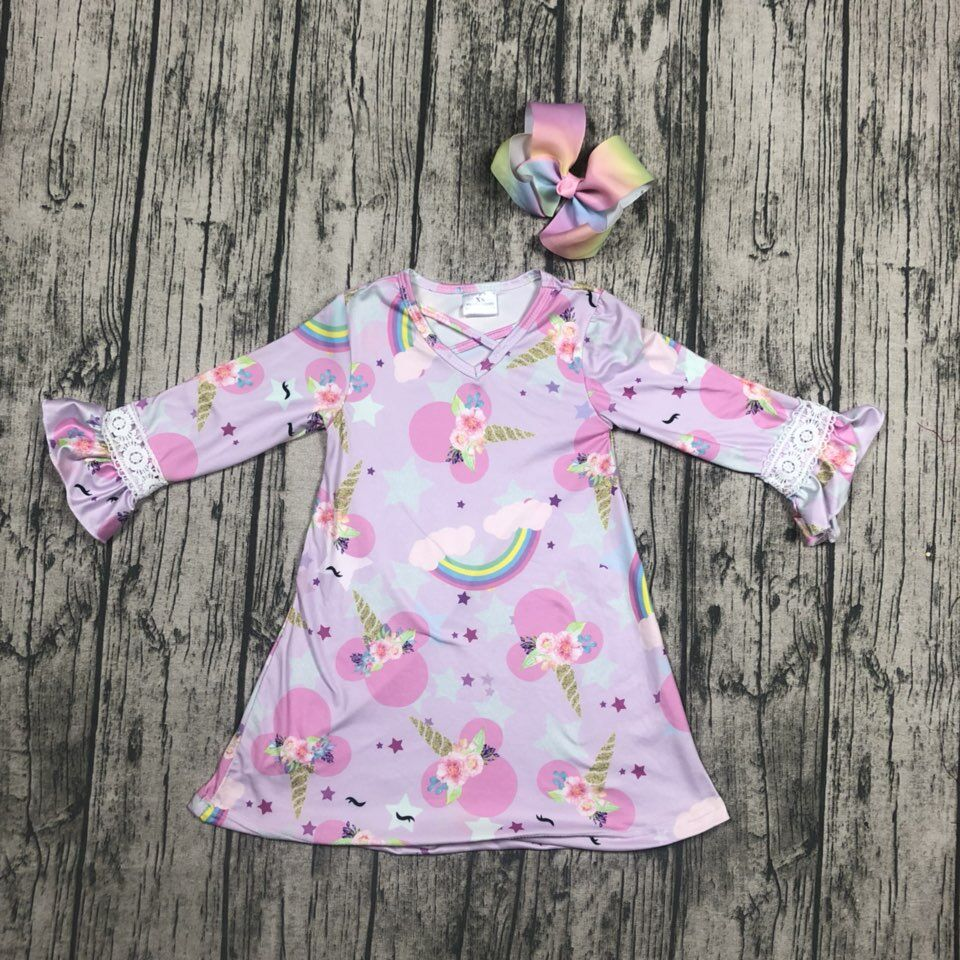 baby kids Fall / Autumn dress girls unicorn dress baby girls unicorn rainbow pink dress long sleeve dress with bows
