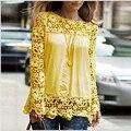 5XL большой размер 2015 Женская Мода Кружева с длинным Рукавом Шифон Блузки Рубашка Крючком blusa Топы blusas femininas camisa плюс размер