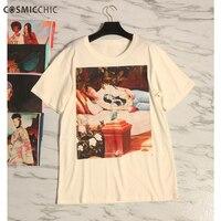 Cosmicchic 2018 лето печати Для женщин футболка o шеи короткий рукав Белоснежка картина маслом свободные Хлопковые фирменные Носки Limited рубашка