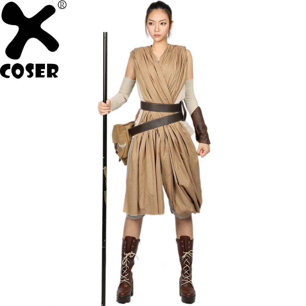 XCOSER Star Wars The Force Awakens Rey Cosplay Costume Full Set Women Movie Cosplay Costumes Accessories Props Promotion Sale