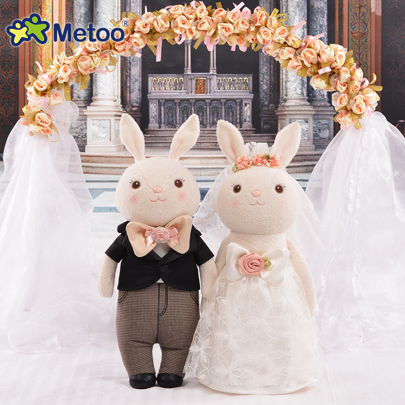 Plush Sweet Cute Lovely Stuffed Baby Kids Toys Wedding Doll Couple Wedding Decoration Pressure Bed 12 Inch Metoo Doll 8 inch plush cute lovely stuffed baby kids toys for girls birthday christmas gift tortoise cushion pillow metoo doll