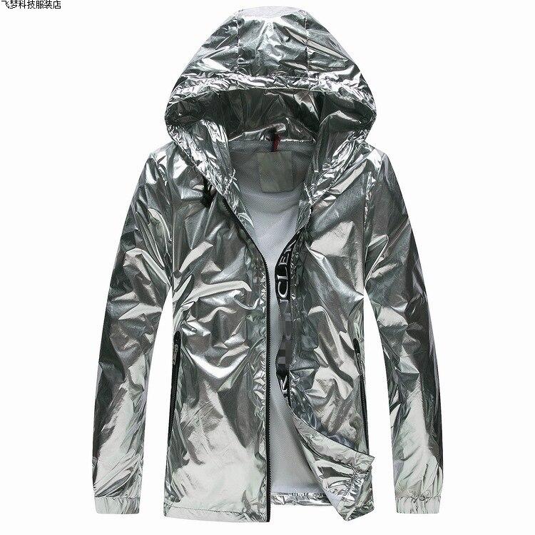 Livraison directe argent veste hommes beau crème solaire vêtements Hip Hop veste zippée style de rue hipster mode noir tech manteau