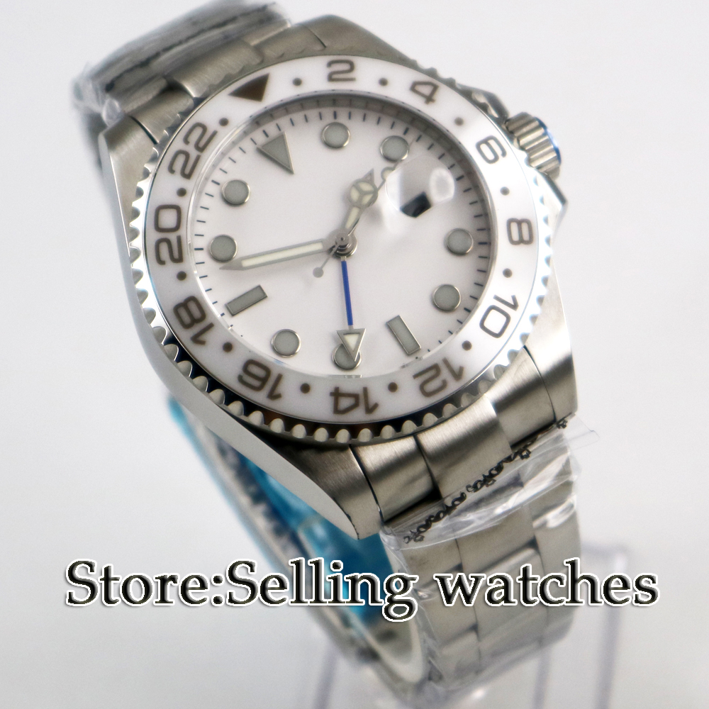 Luxury Brand parnis Mechanical Watches 43mm white sterile dial GMT Ceramic Bezel sapphire glass automatic mens watch цена и фото