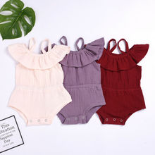 UK Newborn Baby Girl Ruffle Off Shoulder Romper Bodysuit Jumpsuit Outfit Clothes