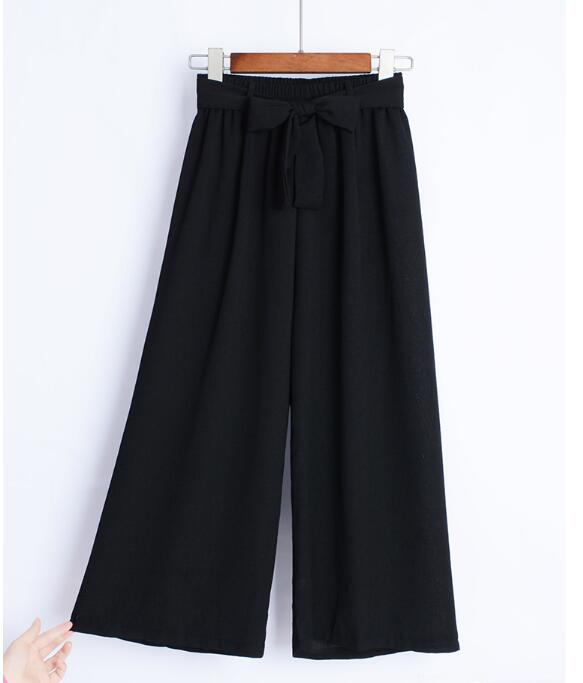 Women   Wide     Leg     Pants   Vintage Elastic Waist Trousers Casual Cotton Oversized Long   Pants   Korean Chiffon   Wide     Leg     Pants