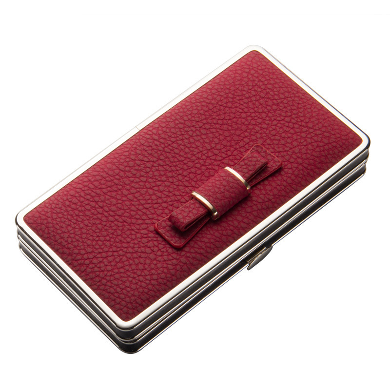 litchi grain Leather Women Long wallet Bowknot Cute Girl Purse coin phone Card female clutch wallet with wrist strap metal frame fuzzy metal clutch wallet