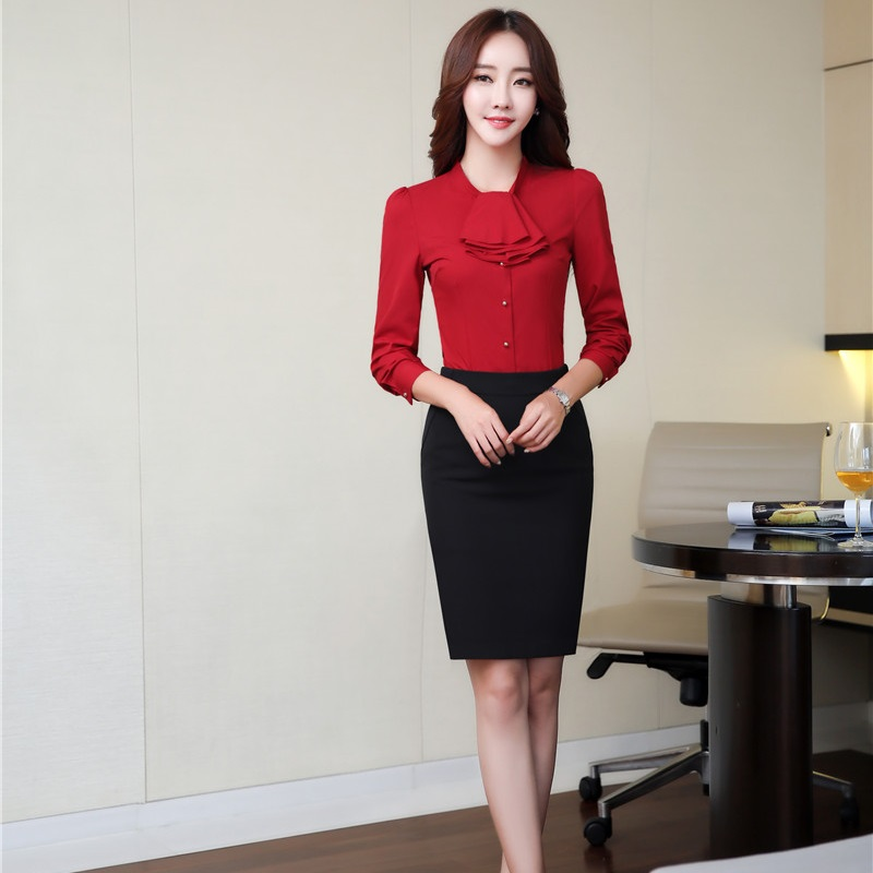 Novelty Red Slim Fashion Ladies Skirt Suits With 2 Piece Tops And Skirt OL Styles Women Business Work Wear Outfits Plus Size
