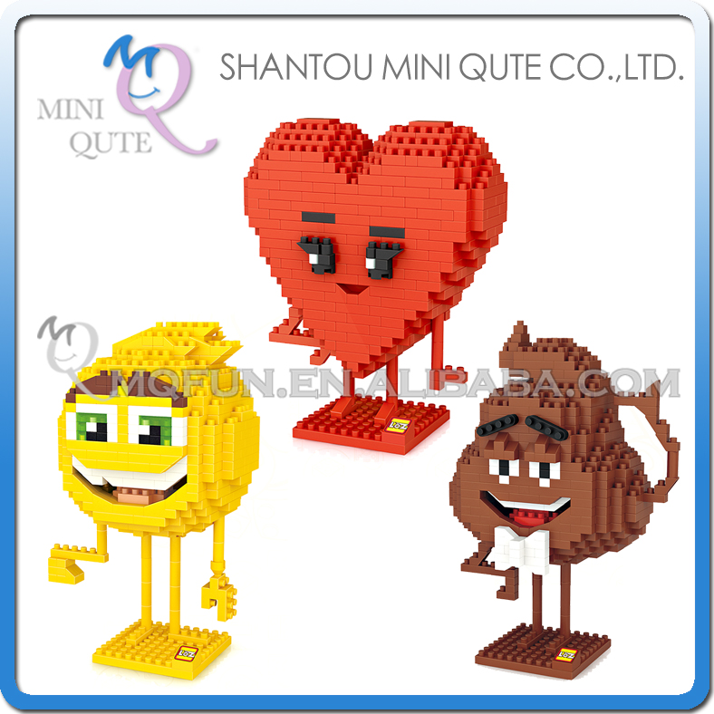 Фото Mini Qute LOZ Kawaii cartoon chocolate bean Heart Poo Gene Plastic diamond Building Block Brick action figures Educational Toy